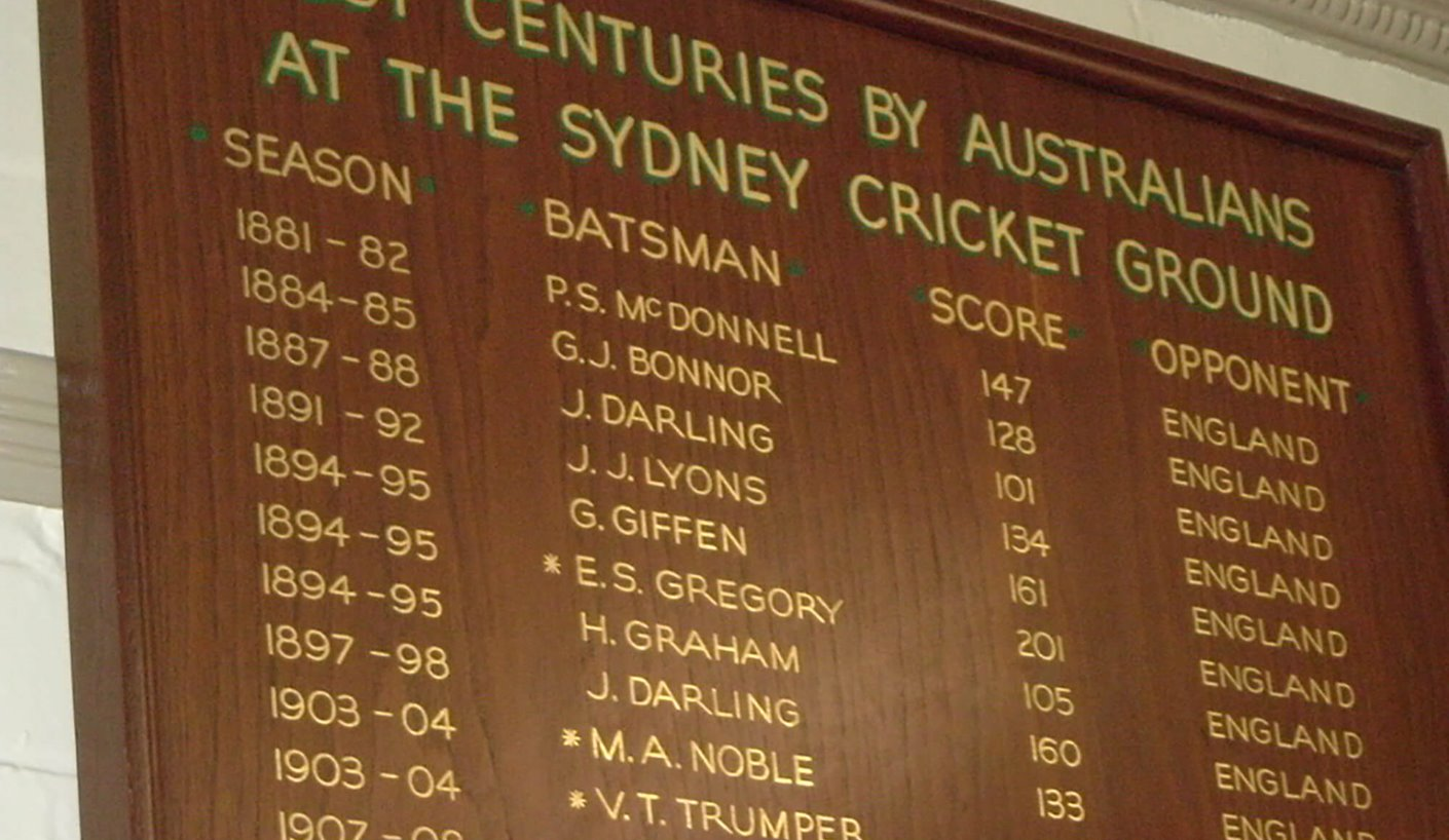 Honour Board in the home team dressing room at the SCG