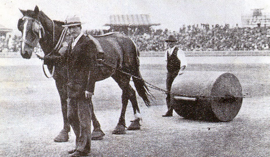 Pitch roller 1901-02  pulled by a horse wearing special shoes to protect the pitch